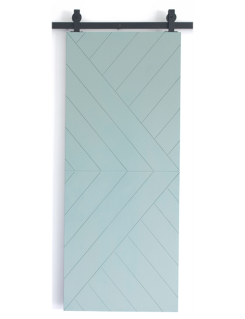 teal painted wood single barn door
