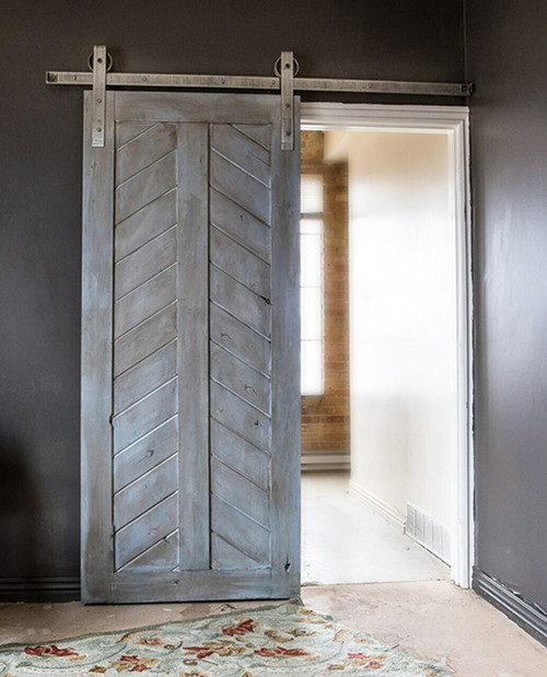 distressed wood chevron panel barn door