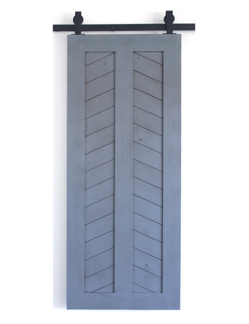 painted wood chevron panel barn door