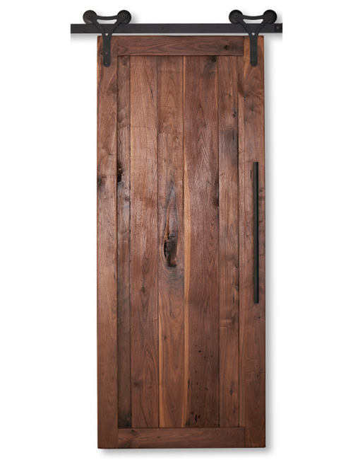 walnut wood vertical plank barn door
