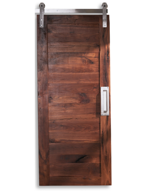 wood walnut horizontal full panel barn door