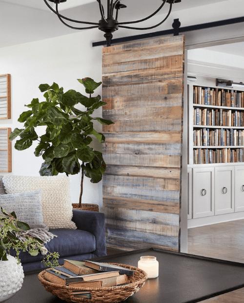 Reclaimed Wood Sliding Barn Door Lifestyle Living Room