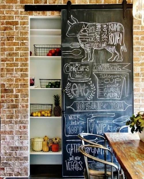 kitchen pantry sliding barn door with full chalkboard finish