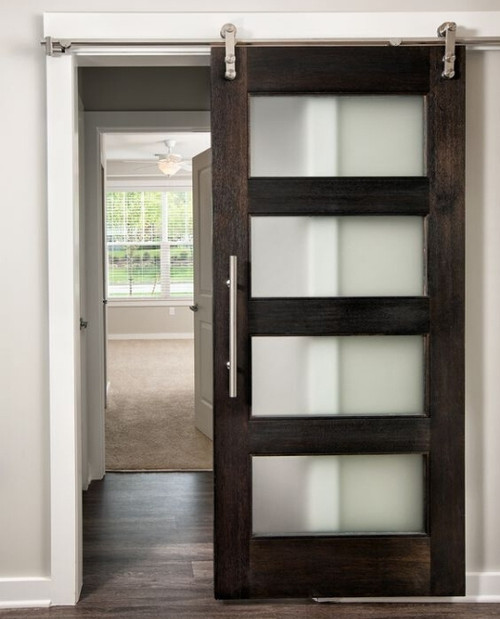 4 Panel Glass Dark  Wood Sliding Barn Door