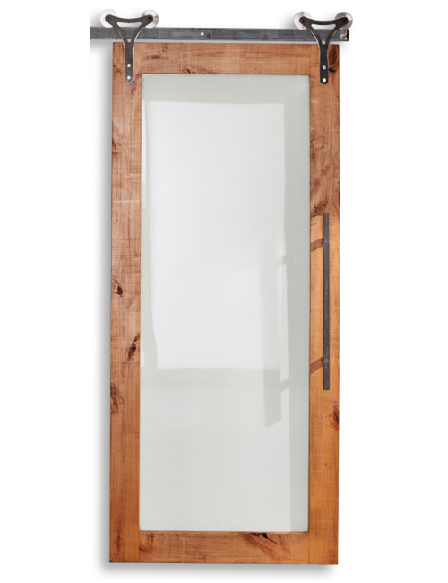 wood barn door with full pane glass