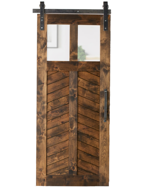 light chevron wood dual glass pane stained chevron panel barn door