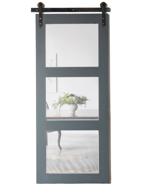 wood three panel glass barn door