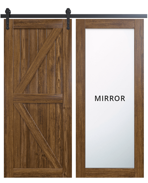 sonoma wood barn door with mirror and diagonal pattern design