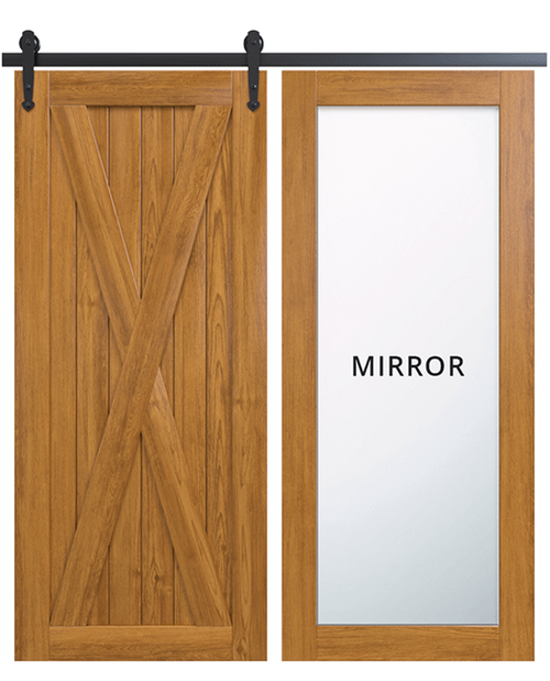 savannah wood barn door with full mirror panel and classic full x panel