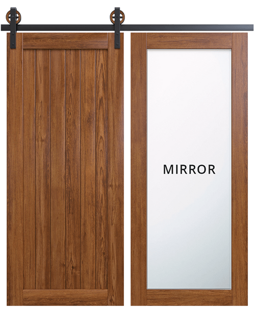 hudson stained wood barn door with full panel mirror