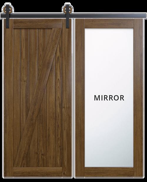 juneau wood full pane mirror dark stain classic z barn door