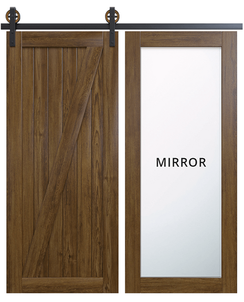 juneau wood full pane mirror dark stain classic z barn door