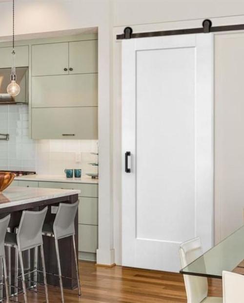 White painted Full Panel Custom Sliding Barn Door used for kitchen pantry