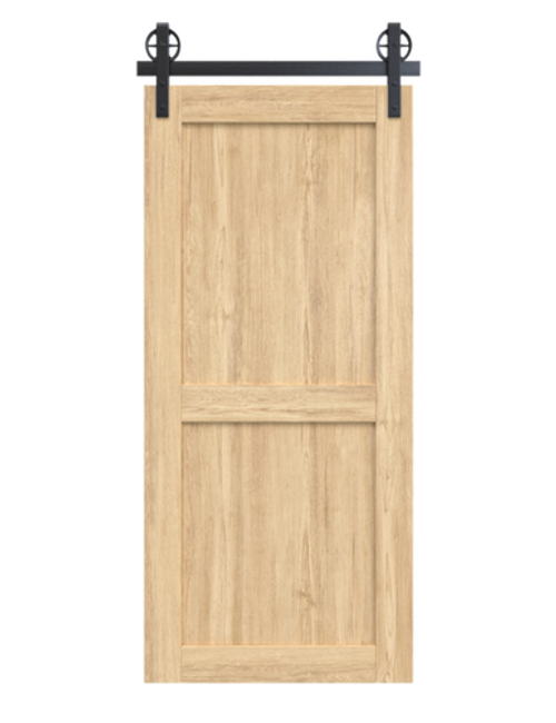 light stain wood 2 panel barn door