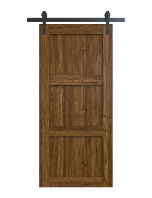 wood medium stain 3 panel shaker barn door