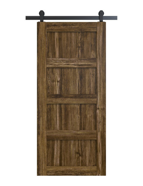 wood stained 4 panel shaker barn door