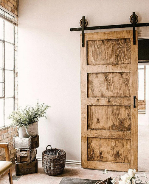 wood distressed 4 panel distressed shaker barn door
