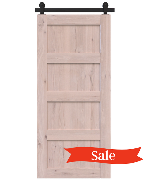 wood unfinished 4 panel barn door