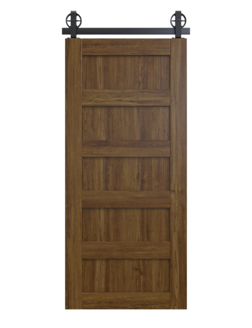 stained wood 5 panel barn door