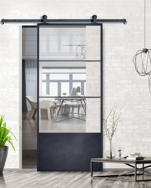 Three Panel French Sliding Barn Door Lifestyle Image, In Modern Industrial Style.