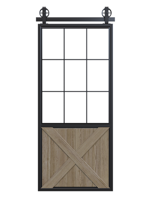 metal half square pane glass half x panel wood barn door