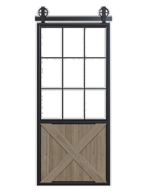 metal half square pane glass half x panel wood barn door