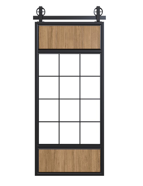 metal wood and glass window panels barn door