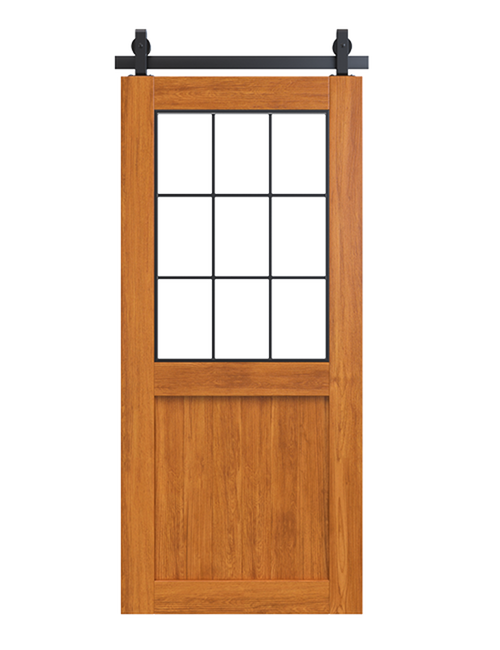 stained wood barn door with glass window