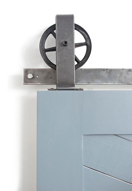 steel spoked top mount barn door hardware
