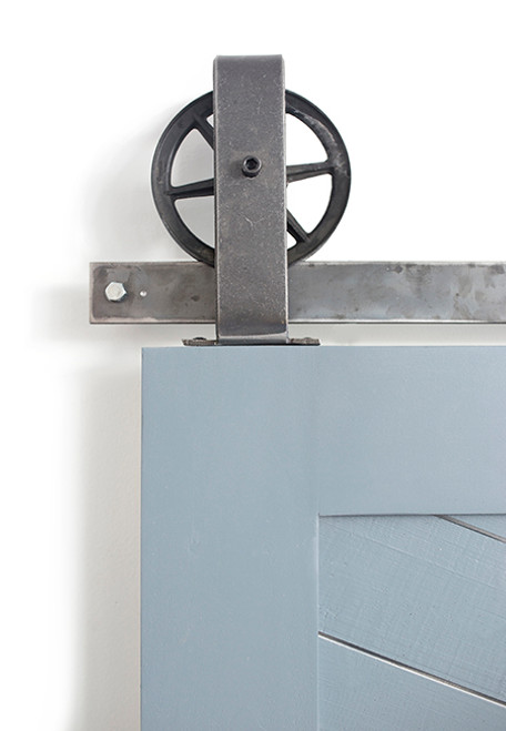 steel spoked top mount barn door hardware