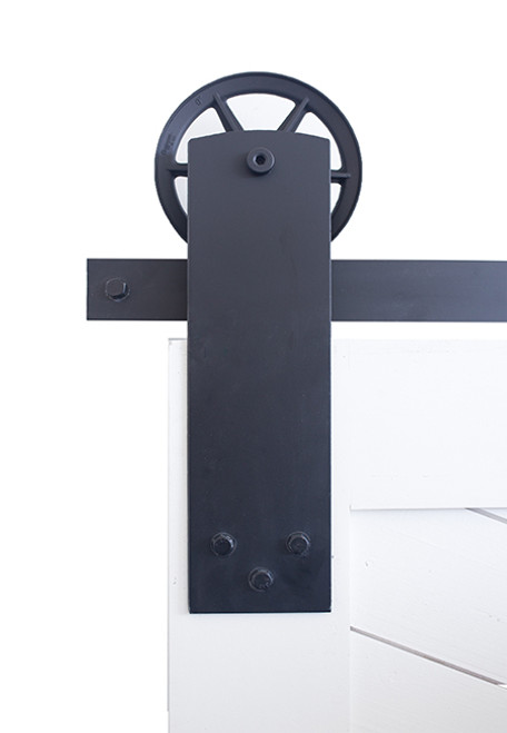 black wide front strap industrial barn door hardware with spoked wheel