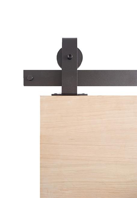 black steel top mount barn door hardware