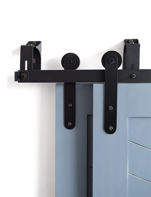 black steel bypassing barn door hardware