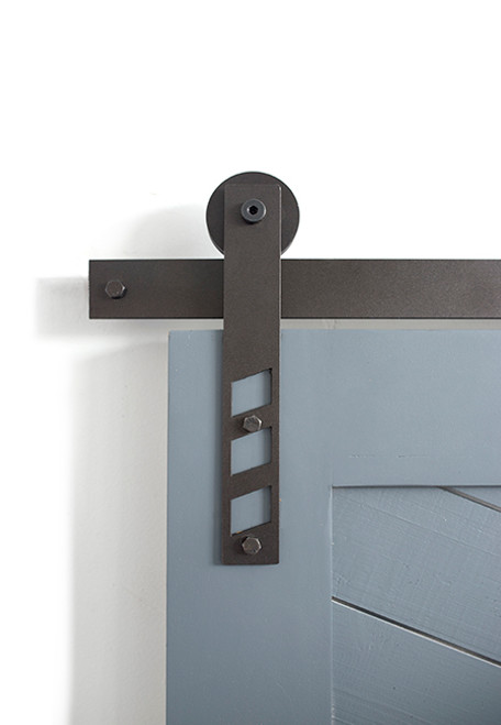 black strap barn door hardware with cutouts