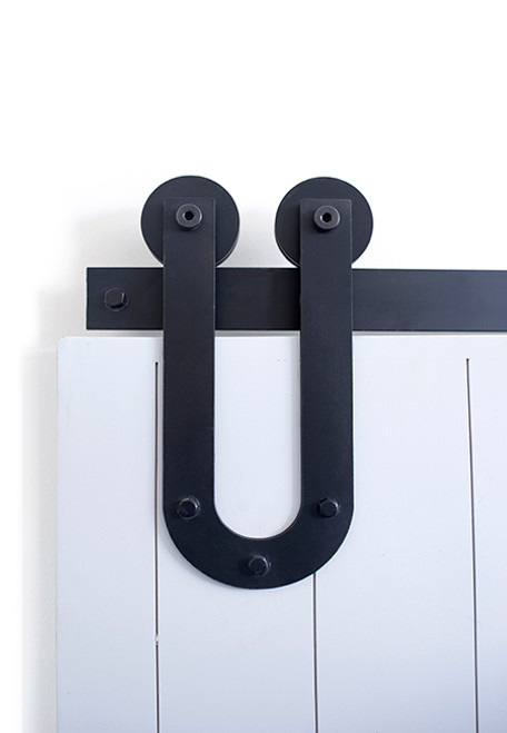 black u shaped strap barn door hardware