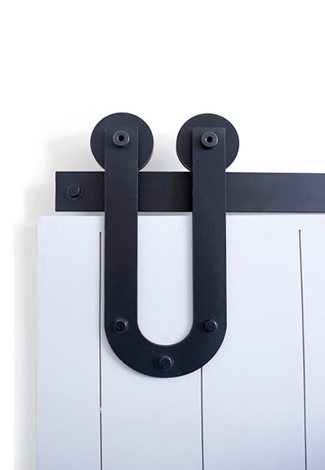 black u shaped strap barn door hardware
