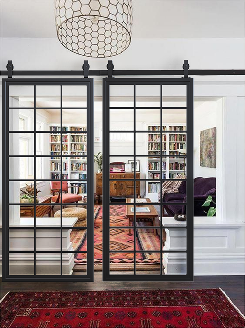 Square Pane French Double Sliding Barn Door in Living Room