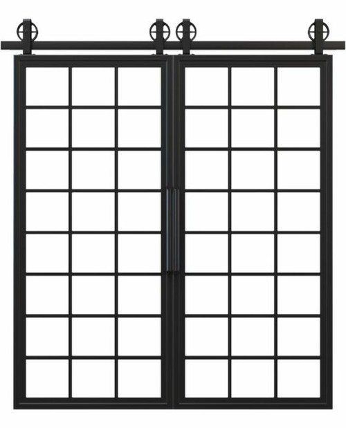 metal full glass window panel french double barn door