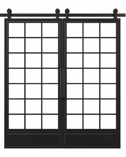 metal bottom panel square pane glass french double barn door