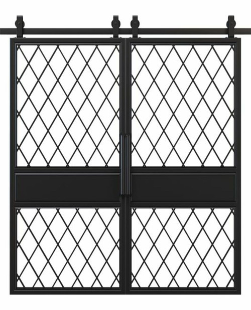 metal two panel double barn door with glass diamond pane window
