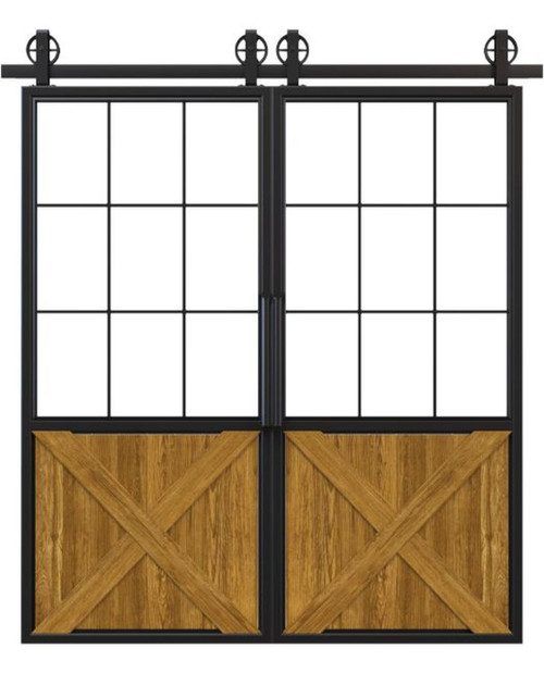metal half square pane glass half x panel wood double barn door