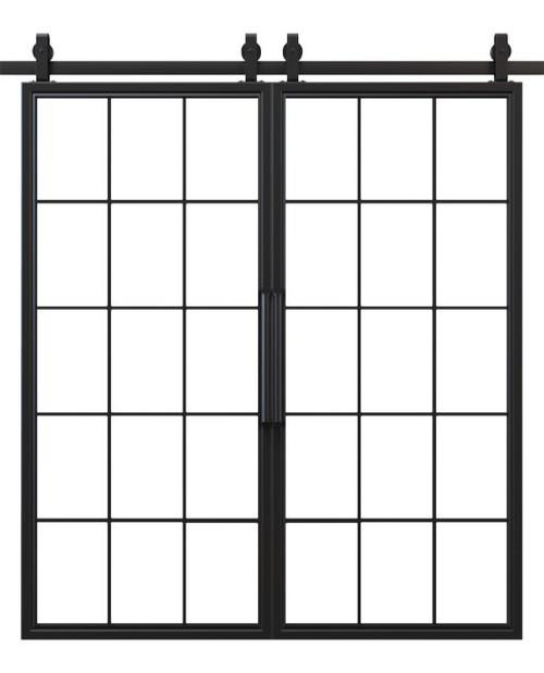 window pane french double barn door black