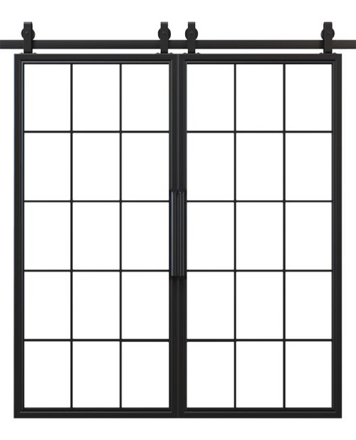 window pane french double barn door black