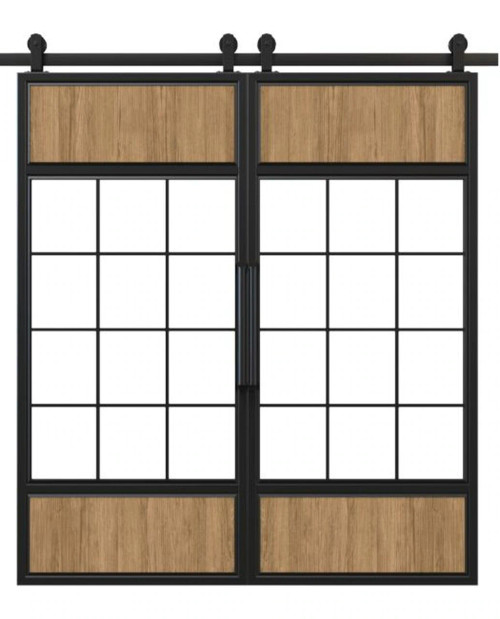 metal wood and glass window panels double barn door