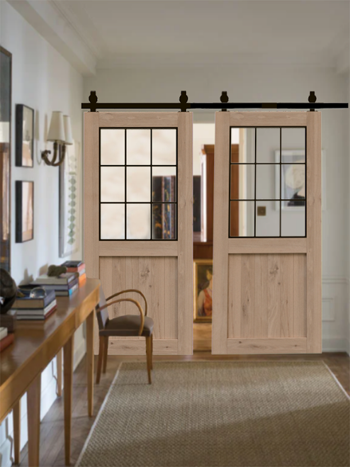 Rustic Half Panel French Double Barn Door lifestyle separating the living room with the office.