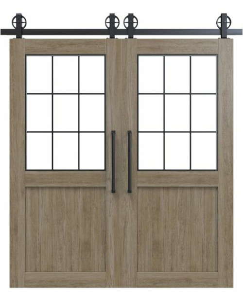 wood french double barn door with glass window