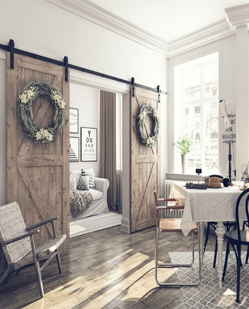 Classic wood rustic styling Sonoma custom double barn door