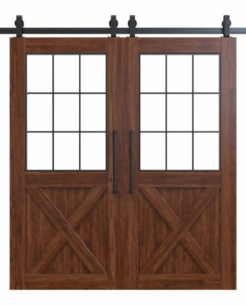 Rustic Half X French Double Custom Sliding Barn Door