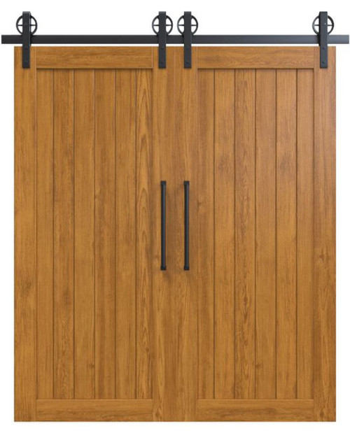 hudson stained wood vertical full panel double barn door