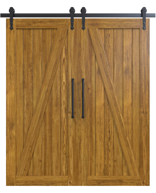 juneau wood medium stain classic z double barn door